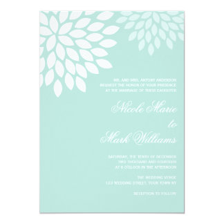Mint Chrysanthemums Wedding Card