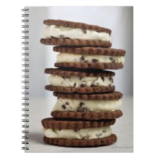 mint cocoa nib ice cream with chocolate cookies notebooks