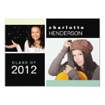 Mint colour block photo graduation announcement 13 cm x 18 cm invitation card