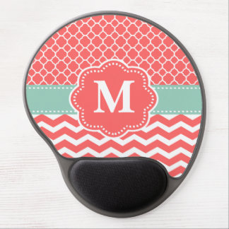 Mint Coral Chevron Monogram Mousepad Gel Mouse Mat