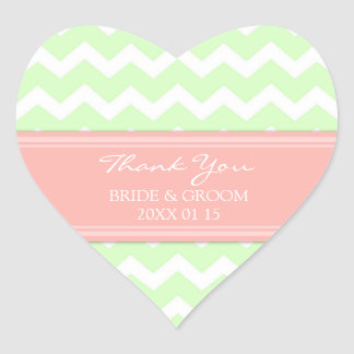Mint Coral Chevron Thank You Wedding Favor Tags