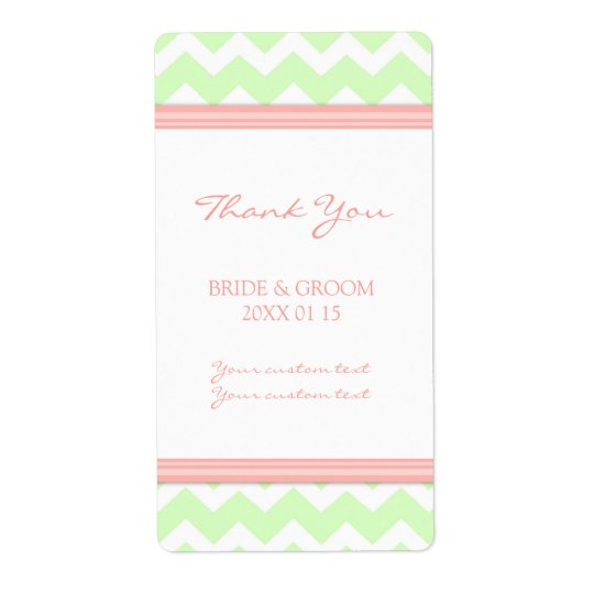 Mint Coral Chevron Wedding Labels