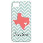 Mint & Coral Cute Texas Love Chevron Monogram iPhone 5 Cases