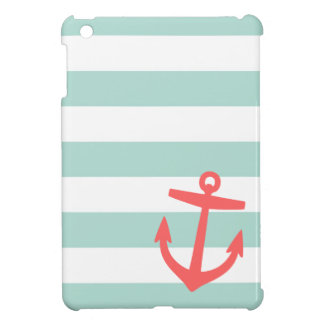 Mint & Coral Nautical Stripes and Cute Anchor iPad Mini Cases