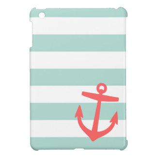Mint & Coral Nautical Stripes and Cute Anchor iPad Mini Cover