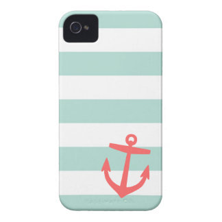 Mint & Coral Nautical Stripes and Cute Anchor iPhone 4 Cover