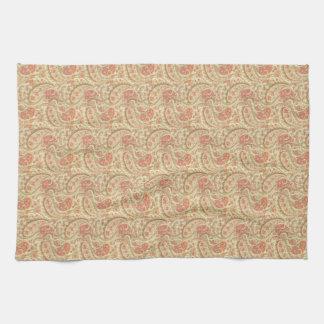 Mint-Coral Paisley Kitchen Towel