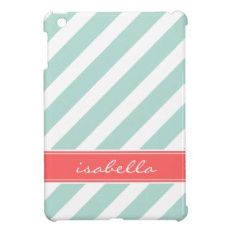 Mint & Coral Preppy Stripes Monogram iPad Mini Case