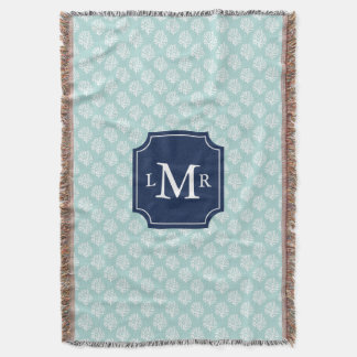 Mint Coral Reef Pattern and Blue Monogram Throw Blanket
