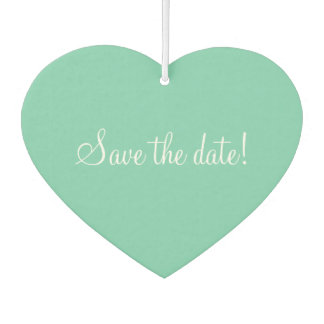Mint coral save the date wedding car air freshener