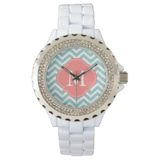 Mint & Coral Zigzags Pattern Monogram Watch