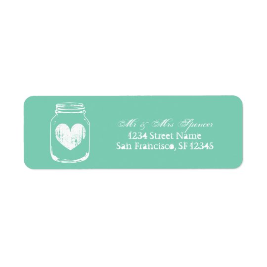 Mint country chic mason jar Return Address labels