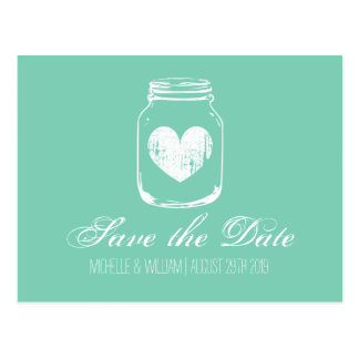 Mint country chic mason jar save the date cards postcard