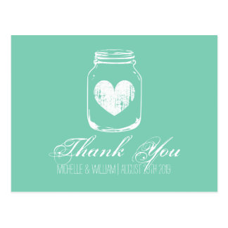 Mint country chic mason jar thank you cards postcard