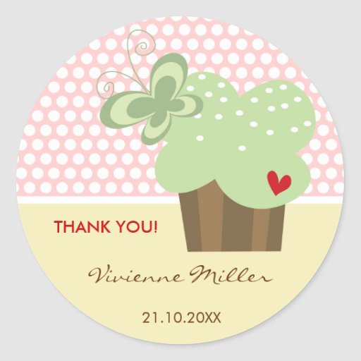 Mint Cupcake Thank You Birthday Party Gift Tag Round Sticker