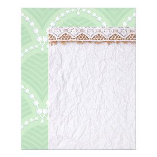 Mint,cute,white,art deco,pearl,pattern,art nouveau 11.5 cm x 14 cm flyer