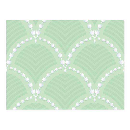 Mint,cute,white,art deco,pearl,pattern,art nouveau postcard