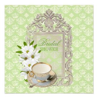 mint daisy Bridal Shower Tea Party Invitation