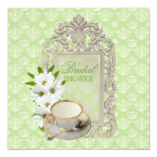 "mint daisy Bridal Shower Tea Party Invitation 5.25"" Square Invitation Card"