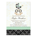 MINT DAMASK BABY CARRIAGE BABY SHOWER INVITES