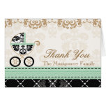 MINT Damask Baby Carriage Shower Thank You
