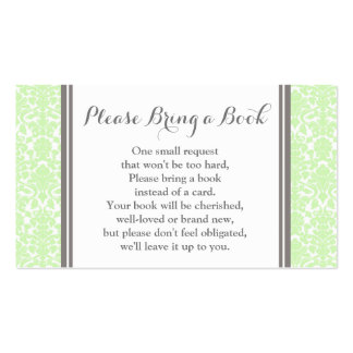 Mint Damask Baby Shower Book Request Card Pack Of Standard Business Cards