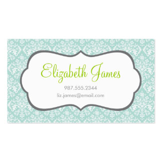 Mint Damask Business Cards