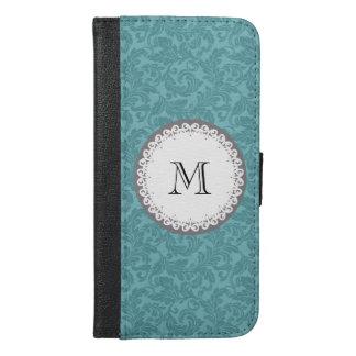 Mint damask Cute trendy girly monogram iPhone 6/6s Plus Wallet Case