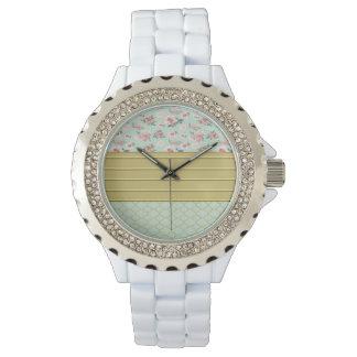 Mint Damask Flowers Wristwatch