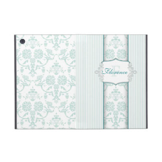 Mint Damask Monogram iPad Mini Cases