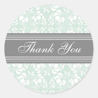Mint Damask Thank You Wedding Envelope Seals