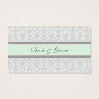 Mint Damask Wedding Table Place Setting Cards