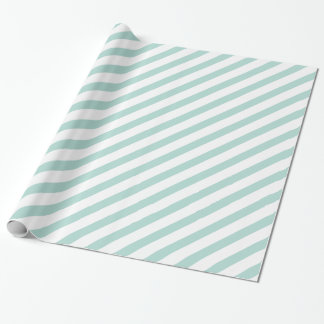 Mint Diagonal Stripe Wrapping Paper
