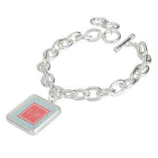 Mint Diamonds Pattern and Monogram