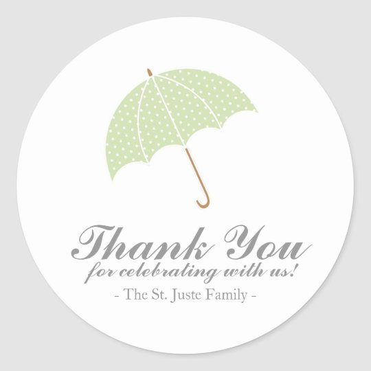 mint dot umbrella BABY SHOWER party favour sticker