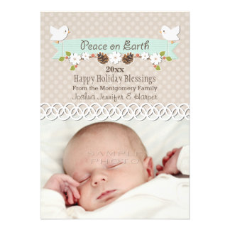 MINT DOVE BABY S 1ST CHRISTMAS HOLIDAY PHOTO CARD
