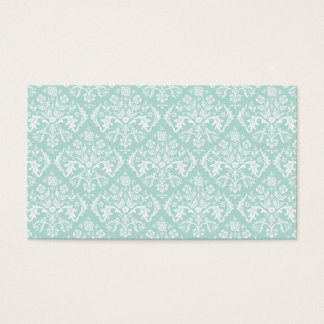 Mint Elegant Damask Blank Business Card Template