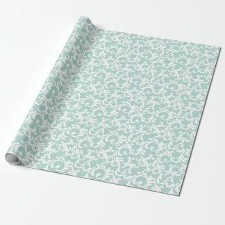Mint Elegant Damask Print Gift Wrap Paper