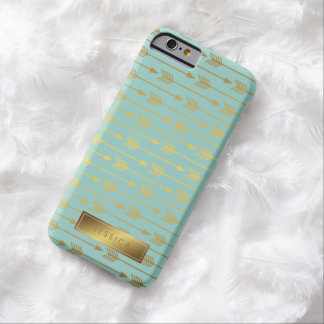 Mint Faux Gold Foil Arrows Pattern Barely There iPhone 6 Case