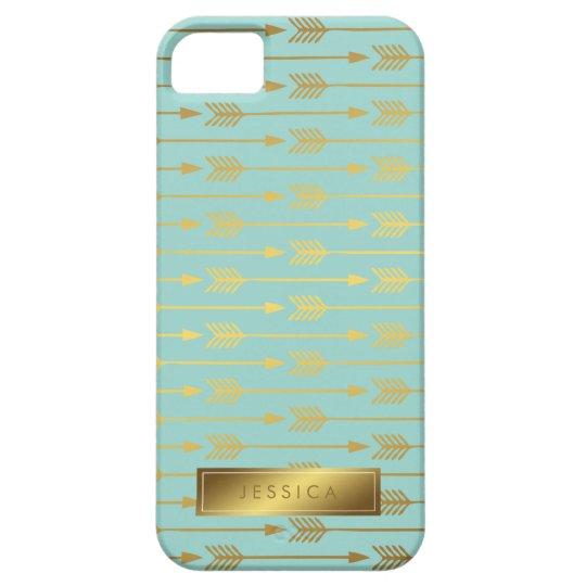 Mint Faux Gold Foil Arrows Pattern iPhone 5