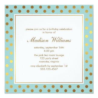 Mint Faux Gold Foil Polka Dots Pattern 13 Cm X 13 Cm Square Invitation Card