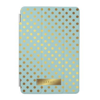 Mint Faux Gold Foil Polka Dots Pattern iPad Mini Cover