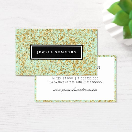 Mint & Faux Gold Glitter Dust Business Card