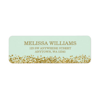 Mint Faux Gold Glitter Return Address Label