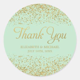 Mint Faux Gold Glitter Wedding Thank You Round Sticker