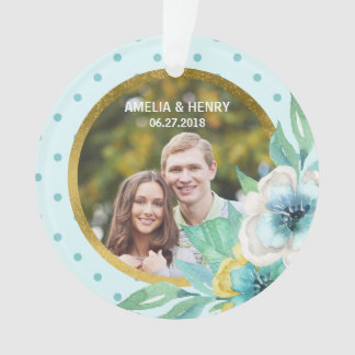 Mint Faux Gold, Watercolor Floral Wedding Photo