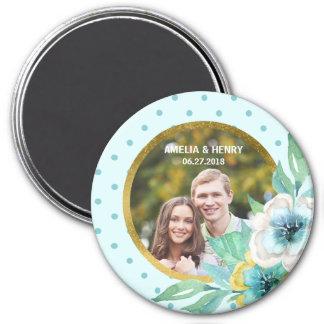 Mint Faux Gold, Watercolor Floral Wedding Photo 7.5 Cm Round Magnet