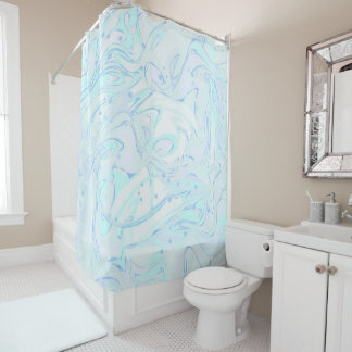 Mint faux marble texture for trendy house interior shower curtain