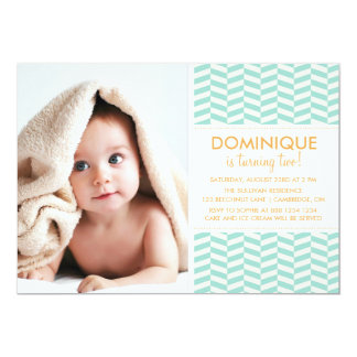 Mint Fishbone Pattern Photo Birthday Invitation