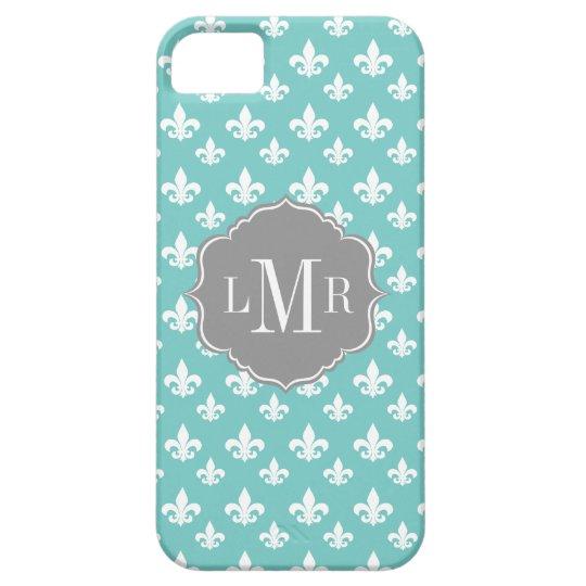 Mint Fleur De Lis Pattern Monogram Barely There iPhone 5 Case